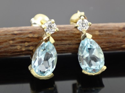 Blue Topaz 14 K Gold Plated 925 Silver