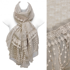 Lace drop knit hand crafter scarf